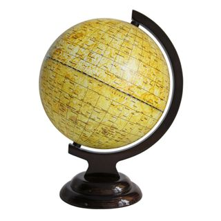 A globe of the moon with a diameter of 210 mm on wooden stand