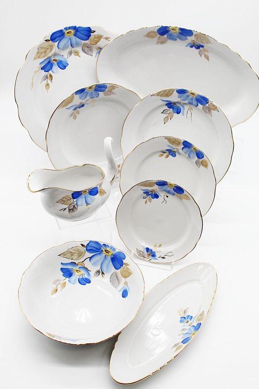 Dulevo porcelain / Table service 29 pcs Appetizing Blue Flower (with gravy)