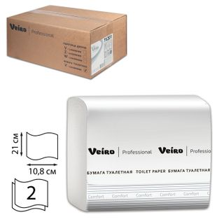 VEIRO / Comfort toilet paper, sheet (T3 System), 21x10.8 cm, 2-ply, 250 sheets, SET of 30 pcs.