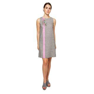 "Dress women ""Wilsonia"" gray with silk embroidery"