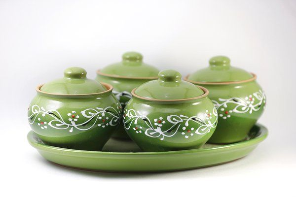 """Set """"Gift"""" 4 pots 0.5 l + oval tray green"""