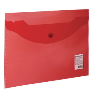 Folder-envelope with button SMALL FORMAT (240х190 mm), A5, transparent, red, 0.18 mm, BRAUBERG