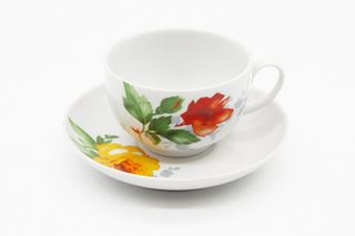 Dulevo porcelain / Tea cup and saucer set, 12 pcs., 275 ml Pomegranate Rose without layering
