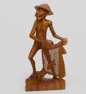 "Wooden figurine ""Fisherman"" 50 cm"