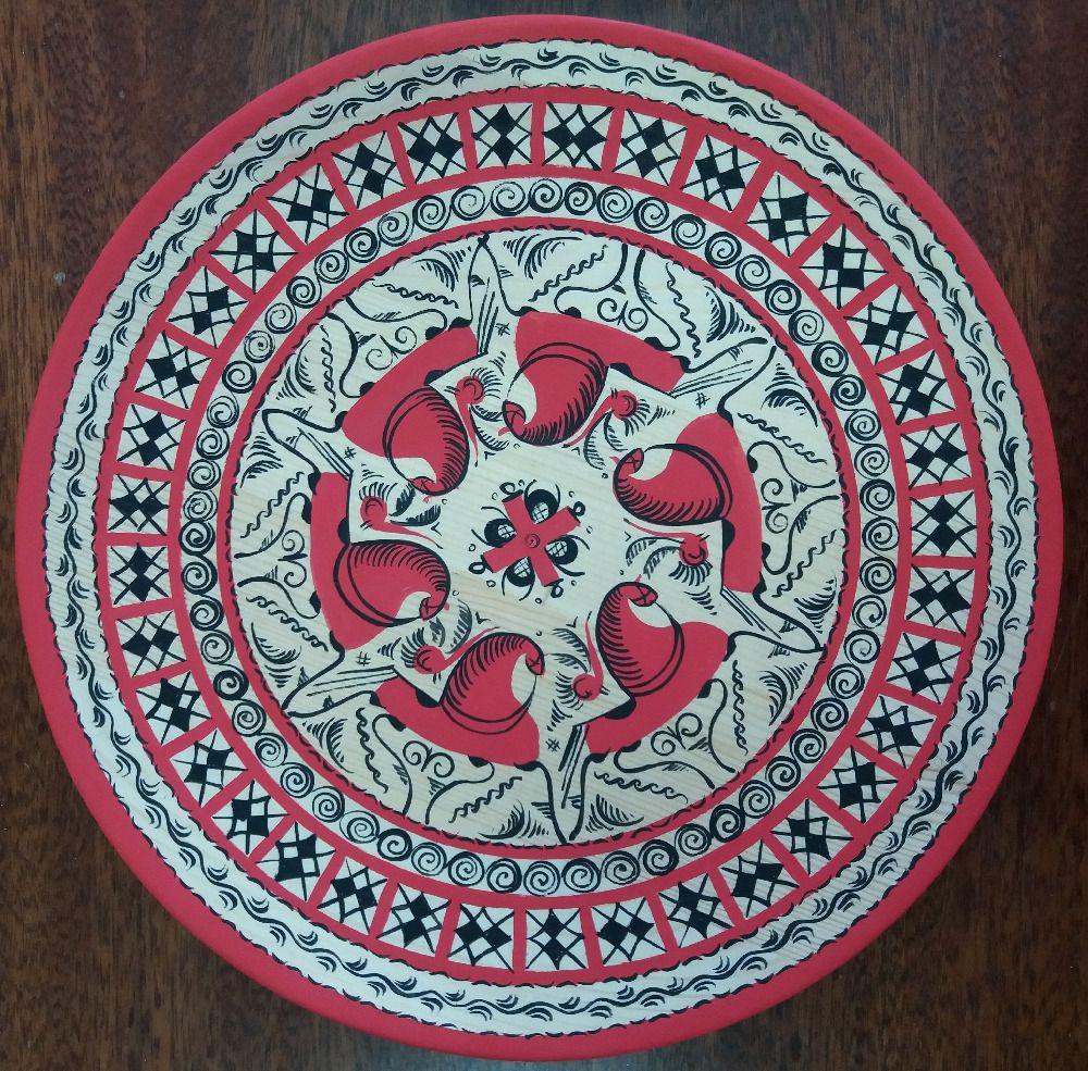 """Plate wooden """"Mezenskaya painting cycle"""" 25 cm"""