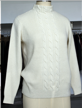 Women's white sweater, knitwear collection 2019