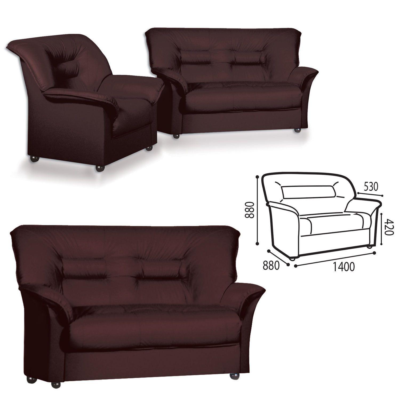 """GARTLEX / Sofa soft double """"Premier"""", """"V-100"""", 1400х880х880 mm, with armrests, eco-leather, brown"""