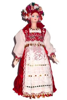 Maiden, traditional Russian costume. Doll gift