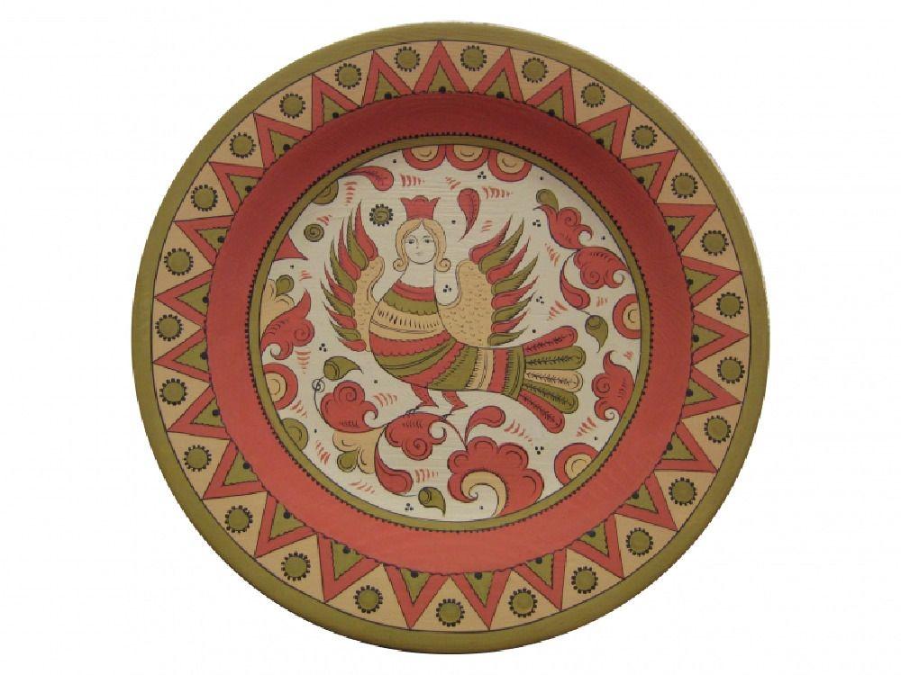"Plate wooden ""Pyermogori painting"" 25 cm"