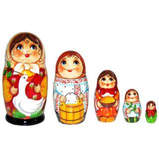 """Matryoshka """"Girl with goose"""" 5 dolls"""