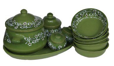 """Table set """"Ornament"""" green 1 grade"""