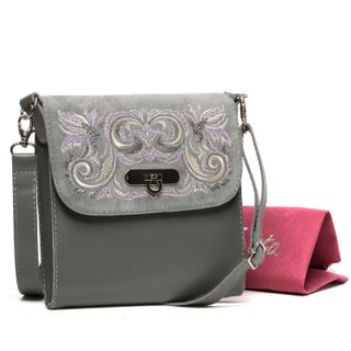 Leather bag Isabelle grey with gold embroidery
