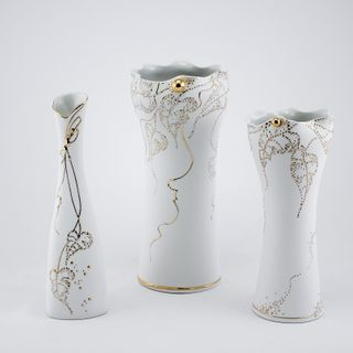 Vase. White and gold series - Drop