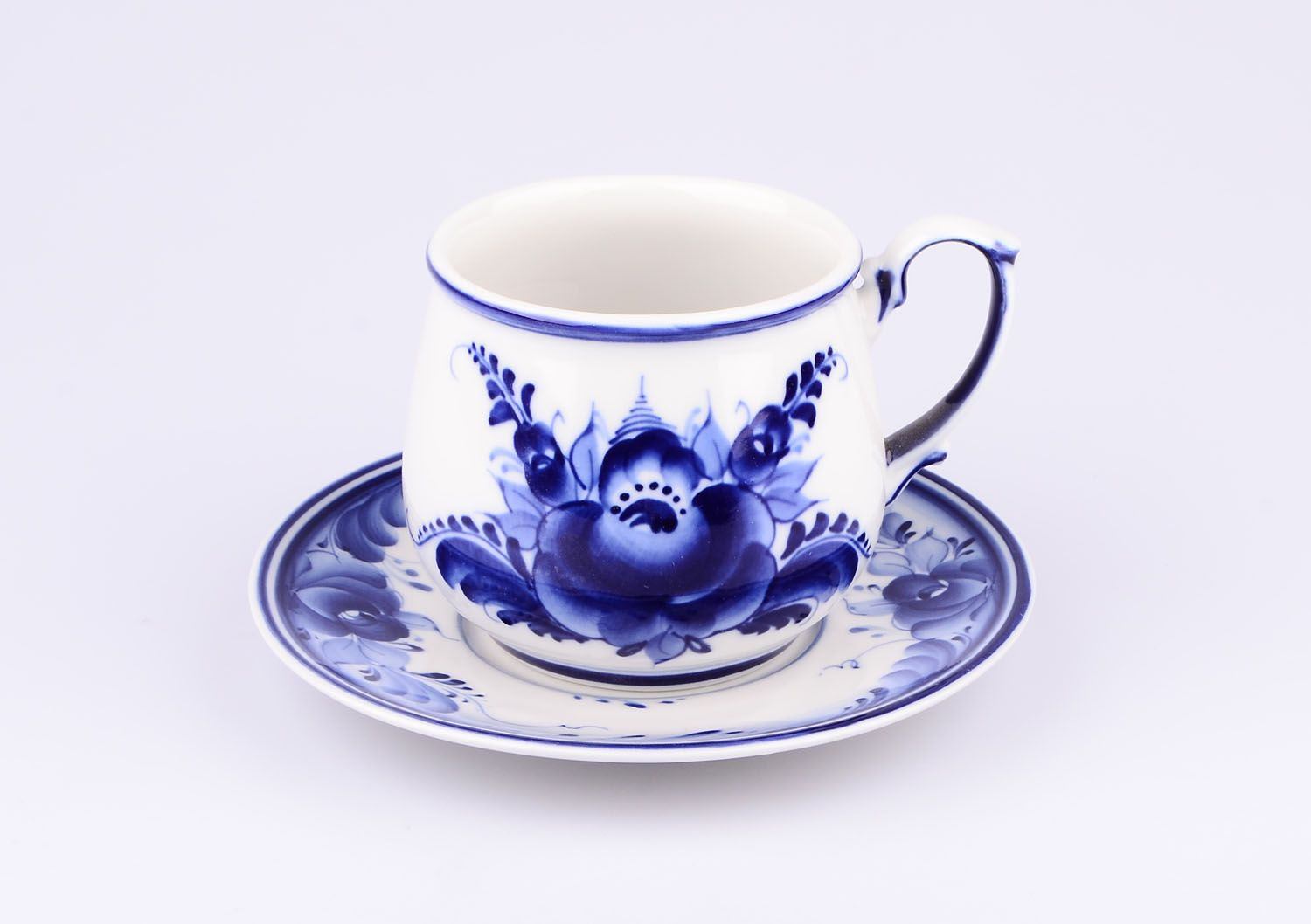 Dulevo porcelain / Tea cup and saucer set, 12 pcs., 300 ml Blooming garden