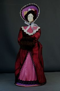Doll gift porcelain. Lady in walking costume. Seregina of the 19th century Saint Petersburg. The European fashion.