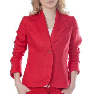 "Jacket women's ""Elegy"" is red with silk embroidery"