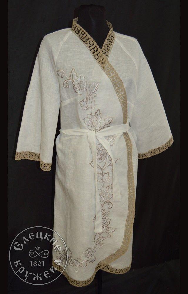 Yelets lace / Women's linen robe С11716
