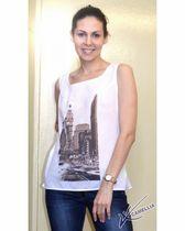 Linen T-shirt with print