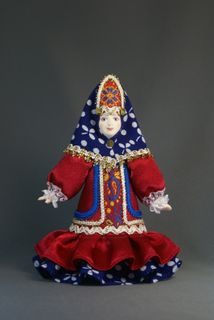 Doll gift porcelain. Women's winter suit (styling). Russia.