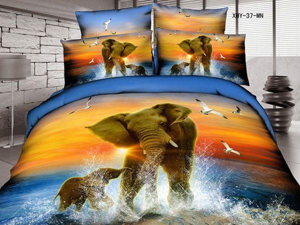 Satin bed linen 3D elephant