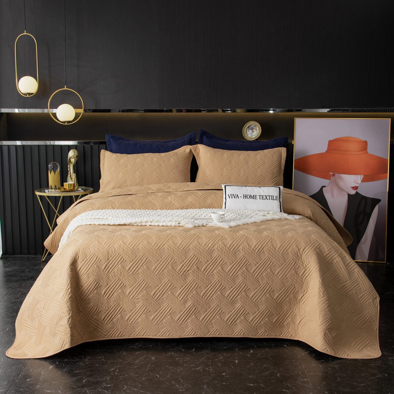 Sitrade / Set single color quilted bedspread and two pillowcases 50-70, OP025