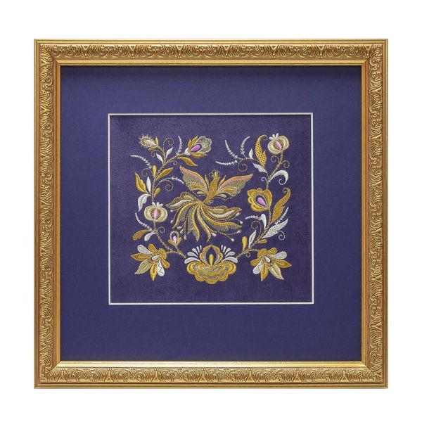 Painting 'Spring' purple with gold embroidery