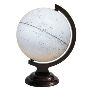 Outline globe with a diameter of 210 mm on wooden stand