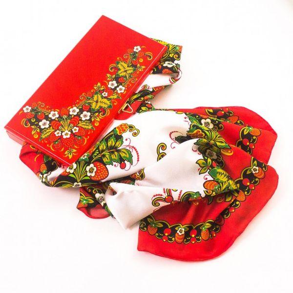 Silk scarf in gift box Yagodnaya Polyana