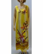 """Dress made from natural silk with hand-painted """"TROPIKANA"""""""