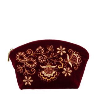 """Velvet cosmetic bag burgundy """"Flowers"""""""