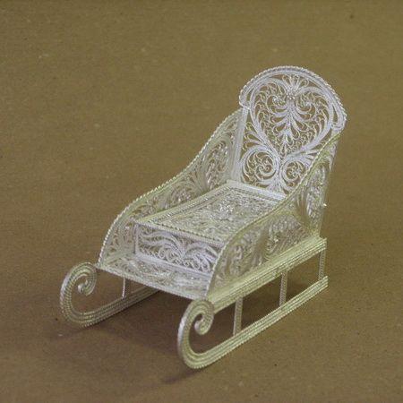 Kazakovskaya Filigree / Small sledge souvenir silver plating