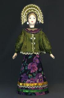 Doll gift porcelain. Kostroma lips. Russia. Festive costume.
