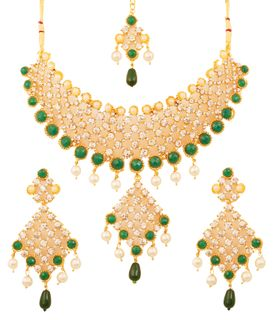 Touchstone Golden Plated Indian Bollywood Green Faux Emeralds/Pearls Bridal Jewelry Necklace For Women