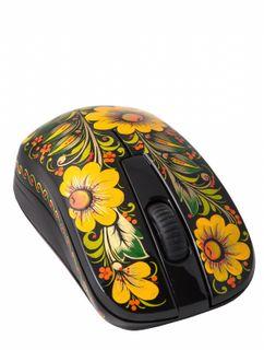 Khokhloma painting / Wireless computer mouse with Khokhloma painting