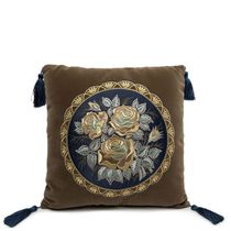 Pillow cushion, Rose-brown color with Golden embroidery