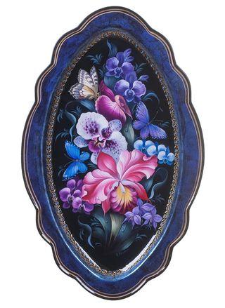 Zhostovo / Unique forged tray, author Koshkina O. 45x36 cm