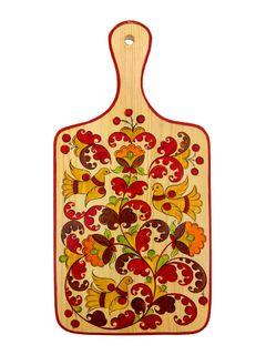 "Board kitchen rectangular ""Boretskaya painting. Bird"" with handle 43 cm"