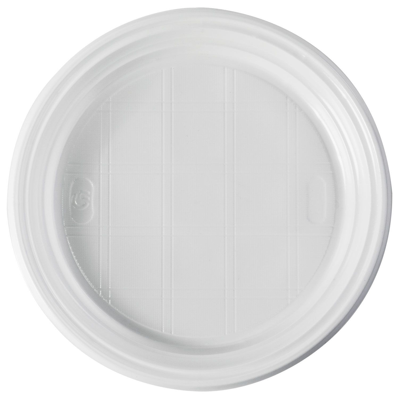 STIROLPLAST / Disposable flat plates, SET 100 pcs., D = 205 mm, ECONOMY, white, polystyrene (PS)