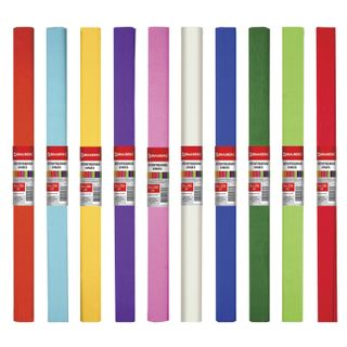 Color crepe paper, thick, assorted 10 colors, stretching up to 45%, 32 g/m2, BRAUBERG, 50h250 cm