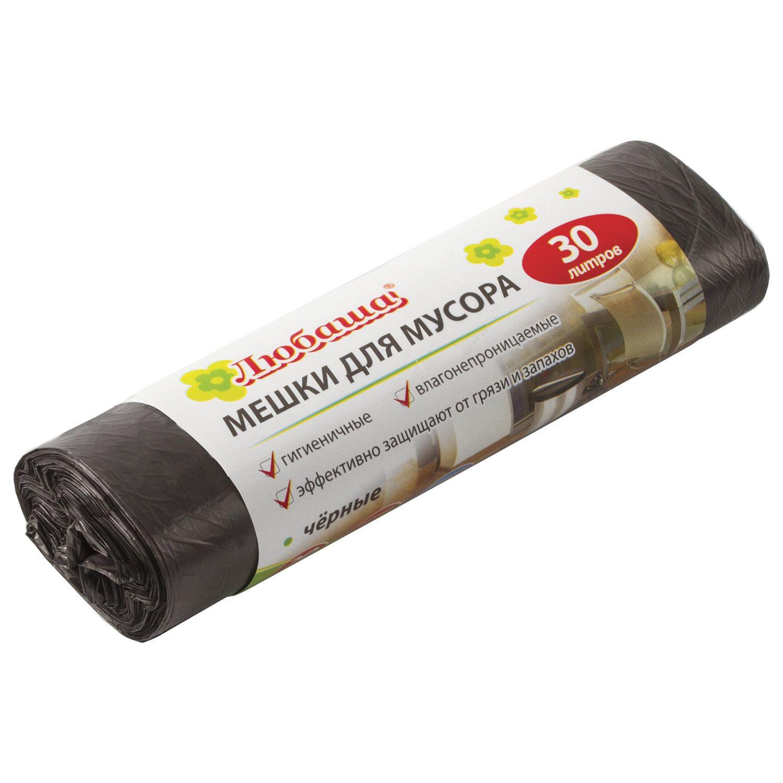LYUBASHA / Garbage bags 30 l, black on a roll 20 pcs., HDPE, 5 microns, 47x55 cm (± 5%), economy