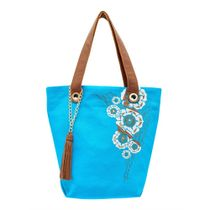 Linen bag 'Louise' blue with silk embroidery