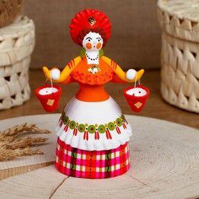 Dymkovo clay toy Farmer with a yoke