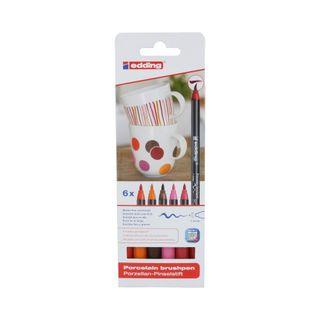 Edding / Ceramic marker pen set, brush nib, 1-4 mm, 6 warm colors 6 colors