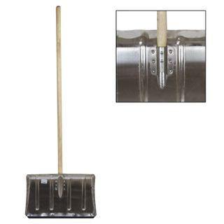 Snow shovel, aluminum, 50x33 cm, height 130 cm, reinforced, wooden handle