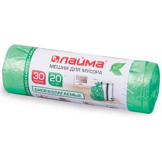 LIME / Garbage bags 30 L, BIODEGRADABLE, green, roll 20 pcs., HDPE, 10 microns, 50x60 cm (± 5%), durable