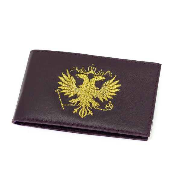 Torzhok gold embroidery / Business card holder 'Eagle' purple color with gold embroidery