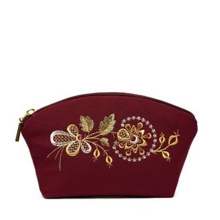 """Cosmetic bag """"Dawn"""" red with a silver pattern"""