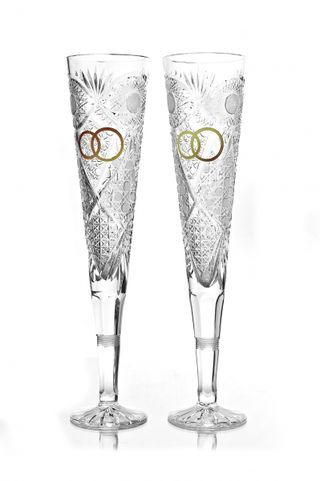 "Set of crystal glasses ""Knight"" with gold rings 2 pieces"