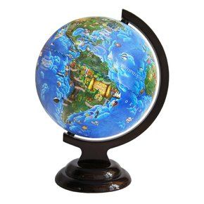 Children's globe 210mm on a wooden stand