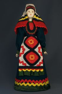 Doll gift porcelain. Vyatka lips. Russia. Udmurt national costume (styling).